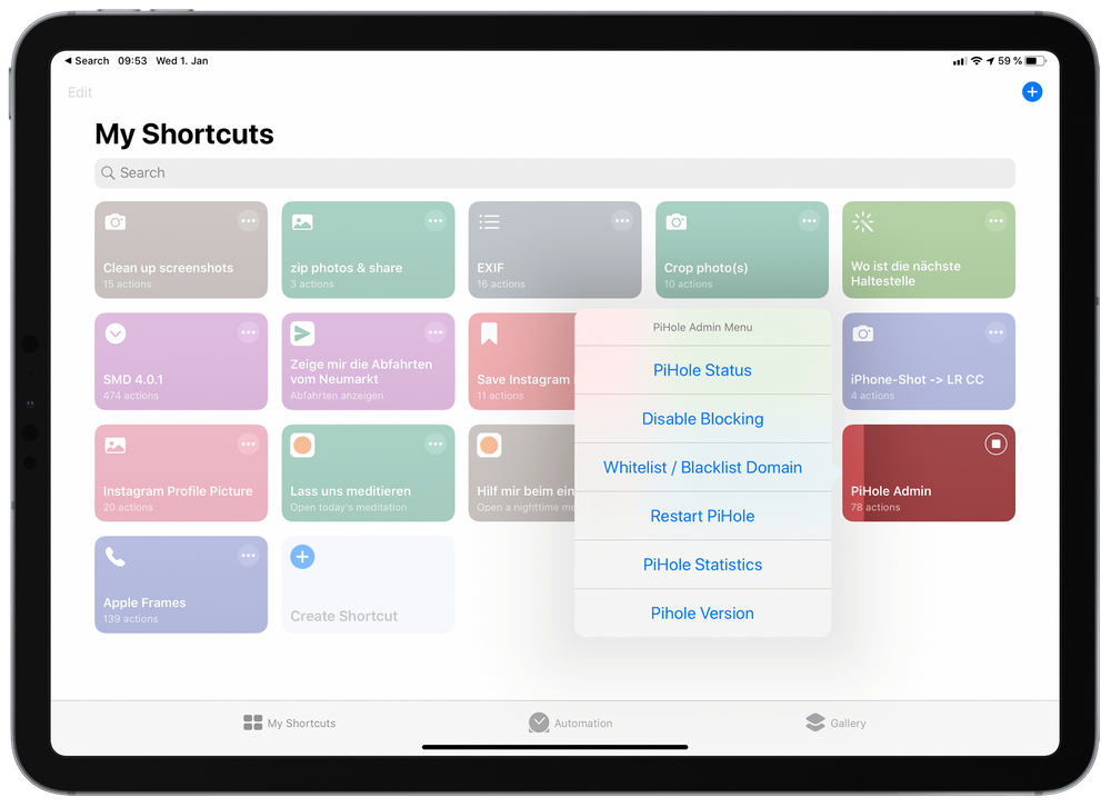 Pi-hole per iOS-Shortcuts steuern